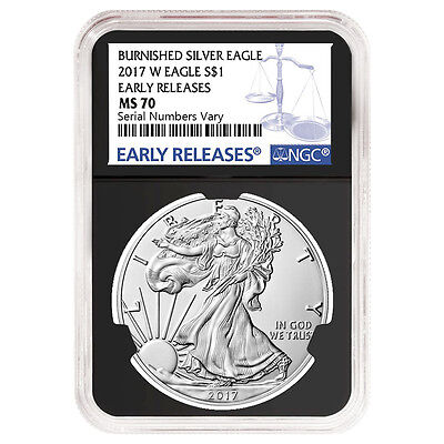 2017-W 1 oz Burnished Silver American Eagle NGC MS 70 Early Releases (Retro)