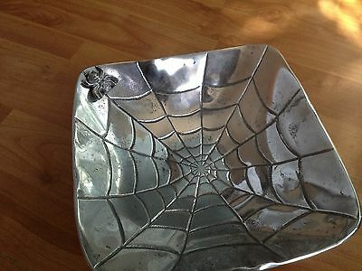 NEW SILVER ETCHED SPIDER & WEB Asymmetrical BOWL TRAY Halloween  DECOR