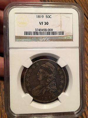 1819 capped bust half dollar NGC VF30 Problem Free Great Eye Appeal!