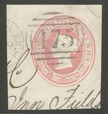 Queen Victoria - 1d Pink Embossed - Postal Stationery with Date Plugs
