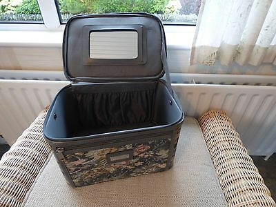 Sterling vintage vanity case mirror Canvas Beauty Make up Nail Art Cosmetic bag