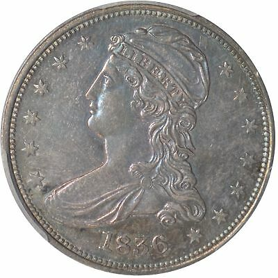 1836 50C Capped Bust Half Dollar PCGS AU58, Reeded Edge