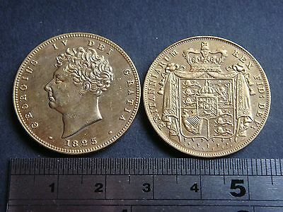 George IV 1825 £2 double sovereign type coin medallion gold plated