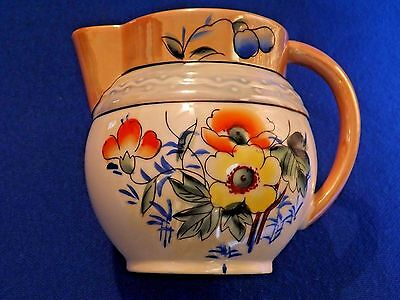 "Vintage Lusterware Pitcher ~  Made in Japan ~ Floral ~ 5 1/4"" Tall"