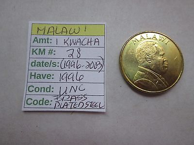 Single coin from MALAWI, 1996, 1 kwacha, Km 28 (1996-2003) Unc