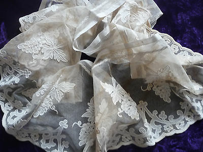 Beautiful all Antique French Embroidered Tull Lace