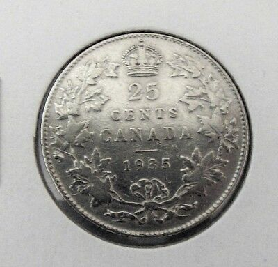 1935  Canadian 25 cent silver coin --FINE.  ITEM #4682