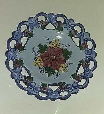 Signed Pottery, Portugal?, Small Round Dislplay Plate  Good Condition