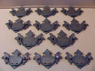 (11) Antique  Solid Brass  Drawer Pulls / Handles -- 2 Sizes -- Screws Included