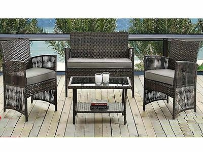 Rattan Garden Furniture 4 Piece Set Conservatory Patio Outdoor Sofa Chair Table