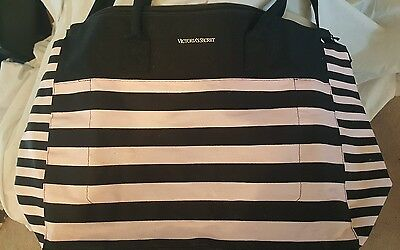 Victoria's Secret Weekend Travel Tote Bag 2016 Jumbo Pink Black Stripes NWT $99