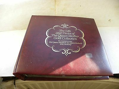 THE LIFE AND TIMES OF THE QUEEN MOTHER GOLD COLLECTION 22ct STAMPS COMPLETE