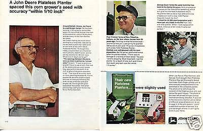 1970 2 Page Print Ad of John Deere Tractor 1240 1250 1300 Plateless Planter