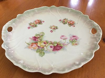 Beautiful Vintage Handled Plate/platter Floral Pattern Made In Germany