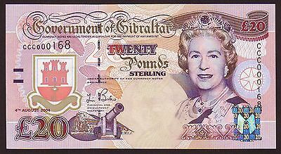 GIBRALTAR  20 Pounds  4.8.2004  Commemorative Issue   Gem UNC
