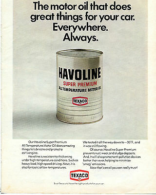 1971 Texaco Havoline Super Premium All Temperature Motor Oil Print Ad