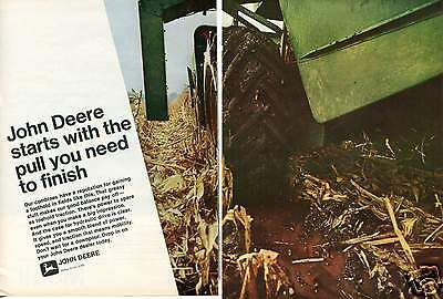 1969 John Deere Combine Tractor 2 Page Print Ad w Mobil Mobiland Tractor Oil