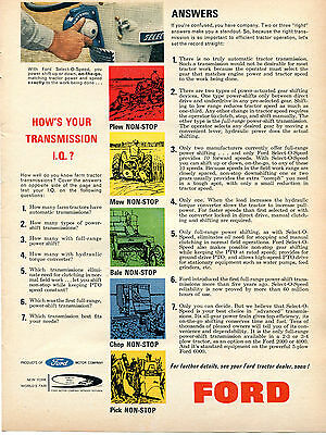 1964 Print Ad of Ford Power Shift Select-O-Speed Farm Tractor