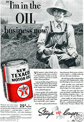 1937 Print Ad Texaco Motor Oil Stays Full Longer farmer in the field