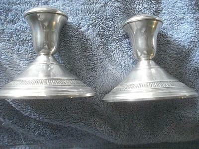 "Vintage Pair Of Weighted Amc Sterling Silver Candle Stick Holders(3 1/2"" - #845)"