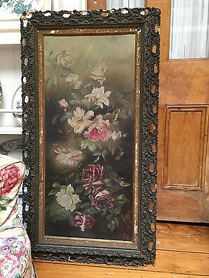 c.1800's ANTIQUE SHAbbY PINK YELLOW ROSES ORIGINAL OIL PAINTING ORNATE FRAME