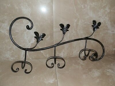 Wall Mounted Coat Racks a 3 places wrought iron with leaves decorative