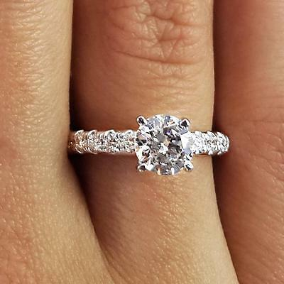 1.55 Ct Round Cut D/Si1 Diamond Solitaire Engagement Ring 18K White Gold