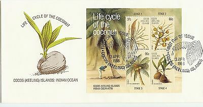 """1988 """"Coconut"""" issue Mini sheet Cocos Islands first day cover. - clean cover"""