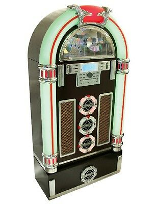 ❤️brand New Full Size Retro Jukebox Plays Ipod Cd Mp3 Usb Radio Remote❤️