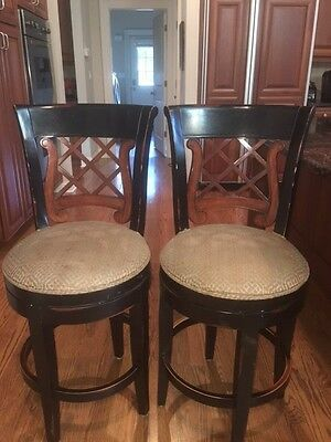 Upholstered Counter Stools With Backs 24 Inch X2 Brown Upholstered