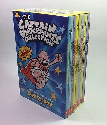 Captain Underpants Children's Chapter Books Dav Pilkey Box Set Lot 8 NEW