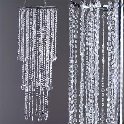 "SILVER METAL 36"" tall Faux Crystal Beaded Chandelier Wedding Party Decorations"