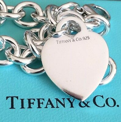 New !Tiffany & Co Silver Heart Tag Bracelet with Box 7.5""