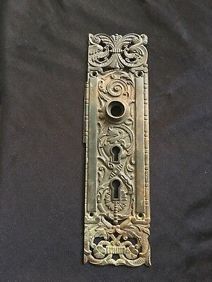ANTIQUE PENN Portulaca  VICTORIAN FANCY BRONZE BACK  PLATE Decorated