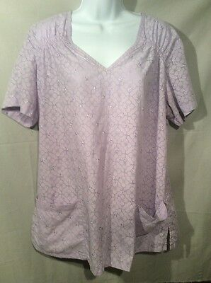 Koi by Kathy Peterson Floral Lavender Embroidered Scrub Top Sz.2X