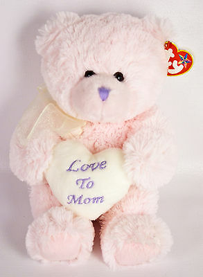 """Ty Beanie Buddies Love To Mom Teddy Bear 11"""" Plush Pink Heart Mother's Day NWT"""