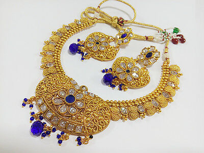 Indian Fashion Jewelry Bollywood Ethnic Gold Plated Traditional Necklace Set