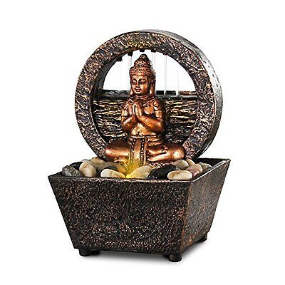 Tranquil Buddha LED Flowing Water Fountain Zen Spiritual Home Decor Statue Figur