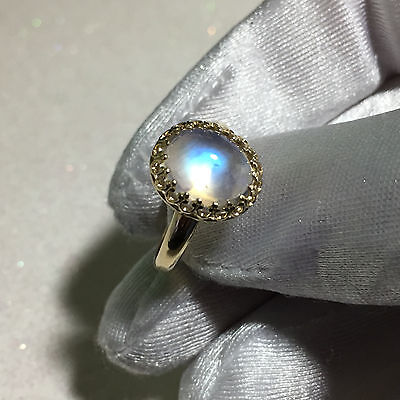 Rainbow Moonstone Ring 14k Yellow Gold Gallery style Size 8 3.6ct