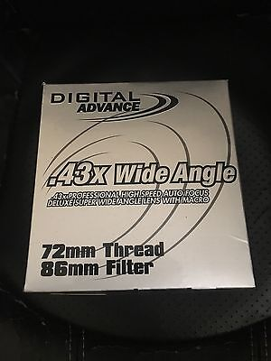 Digital Advance .43x Wide Angle Lens with Macro 72MM Thread 86MM Filter+Adapters