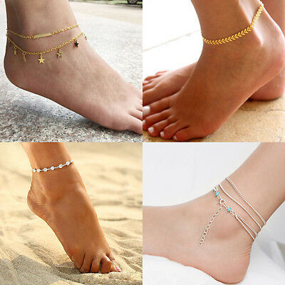 Multi Layer Silver Crystal Ball Bracelet Anklet Ankle Foot Chain Women Jewelry
