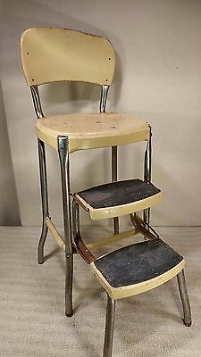 Vintage Cosco Yellow Pull Out Step Mid Century Kitchen Stool - COOL!