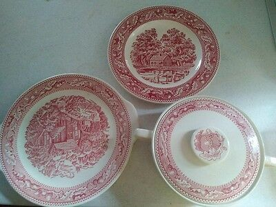 Set of 3 Royal Ironstone Memory Lane Covered Bowl Casserole Dinner & Cake Plate