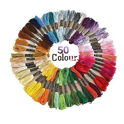 Colour Floss Embroidery Cross Stitch Threads Crafts 50/100/150 Skeins Cross-S...
