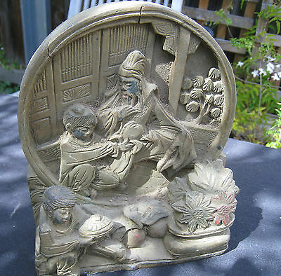 Old asian collectable carving / figurine vintage HAND CARVED wooden ORNAMENT