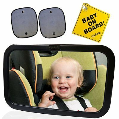 Ojebaby Baby Car Mirror Safety Set with Baby on Board Sign and 2 Sun Shades