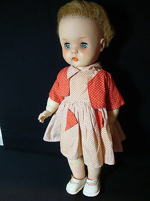 "Horsman 1950'S Fashion Doll 15 "" Vinyl;  Blonde Sleep Eyes 1957 Vintage, Dressed"