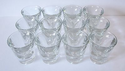 12 x SHOT GLASSES - 1 OUNCE / 30 ML VOLUME - HEAVY (NEW, SEE DESCRIPTION).