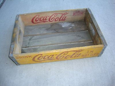 Vintage 1958 Wooden Yellow Coca-Cola Coke Soda Pop Bottle Crate Carrier Box