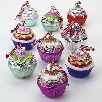 Set of 9 Large Painted Glass Cupcake Christmas Tree Decorations in Pastel and...